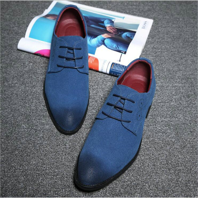 Men Office Shoes   Suede     leather   Retro Carved Oxford Shoes BIG Size 38-48 Dress Shoes Pointed Toe Business Formal Shoes LC-15