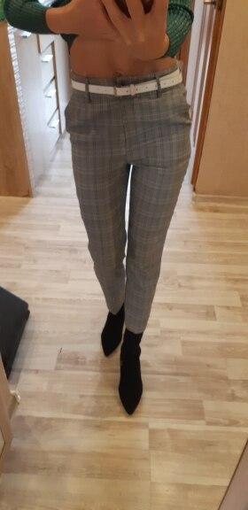 Bella Philosophy 2018 Spring Plaid Basic Pants Women Casual High Waist Long Harem Pants Female Zipper Office Lady Pants Bottoms