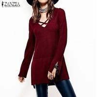 ZANZEA Women 2017 Autumn Blouses Shirts Sexy V Neck Flare Sleeve Knitwear Casual Loose Tops Asymmetrical