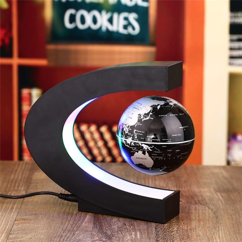 C shape Black Blue LED World Map Electronic Magnetic Levitation Floating Globe Antigravity LED Light Black Blue Drop Shipping