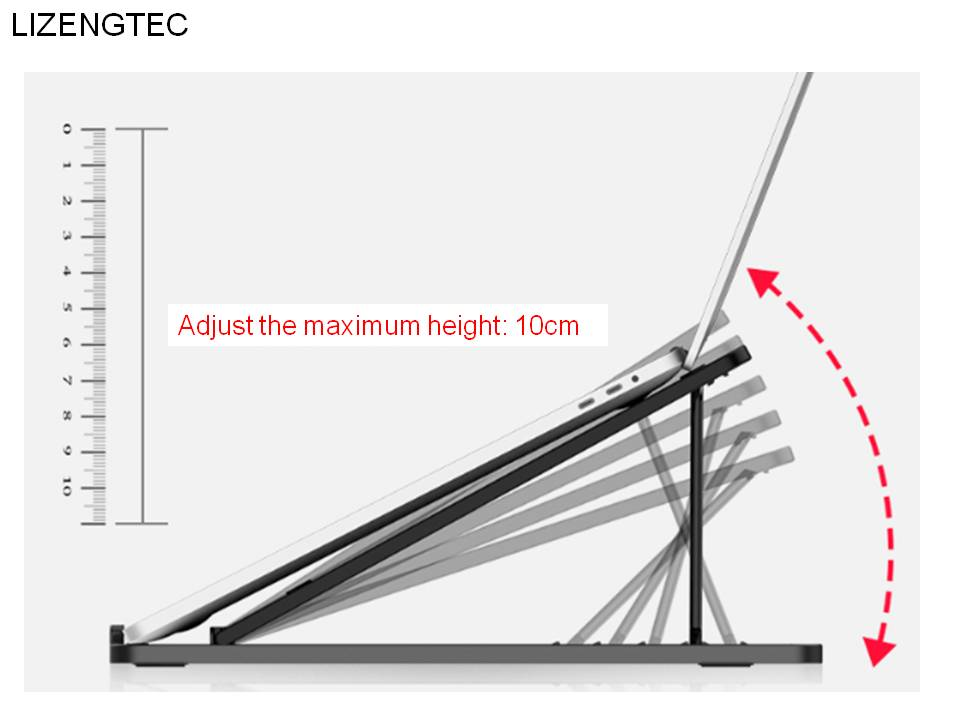 lizengtec aluminum 6 heights adjustable laptop stand with heat dissipation