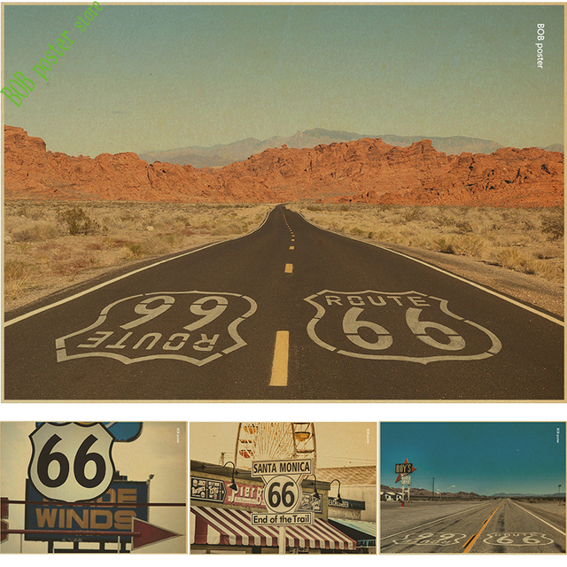 Vintage Home Decor Mother Road Retro Kraft Paper Route 66 No Poster