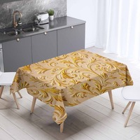 Else Golden Yellow Ethnic Ottoman Turkish Floral 3d Print Washable Thicken Cotton Cloth Rectangular Square Kitchen Tablecloth