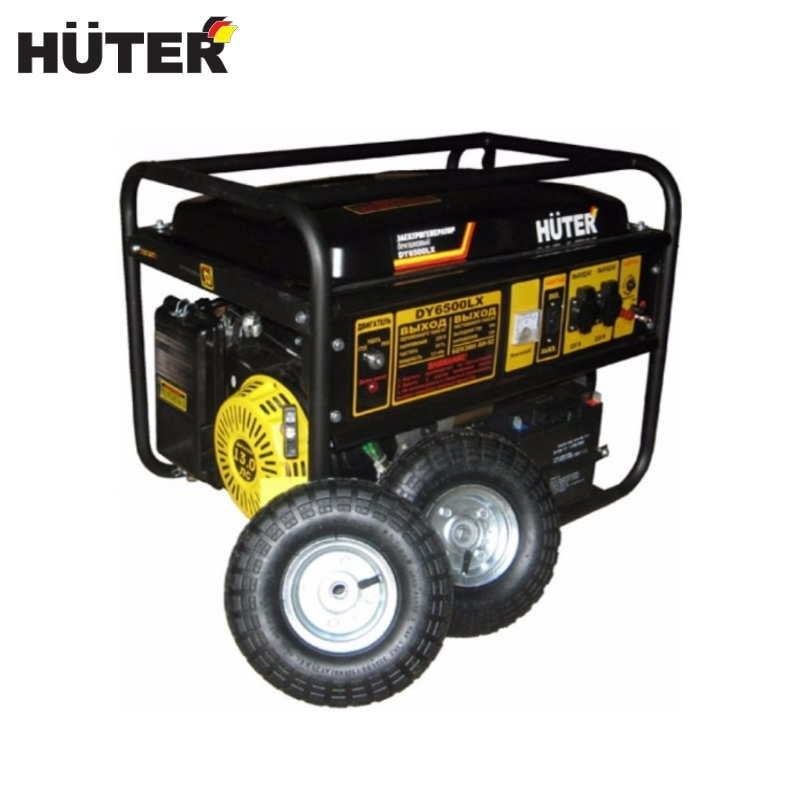 цена Electric generator HUTER DY6500LX with wheels and battery