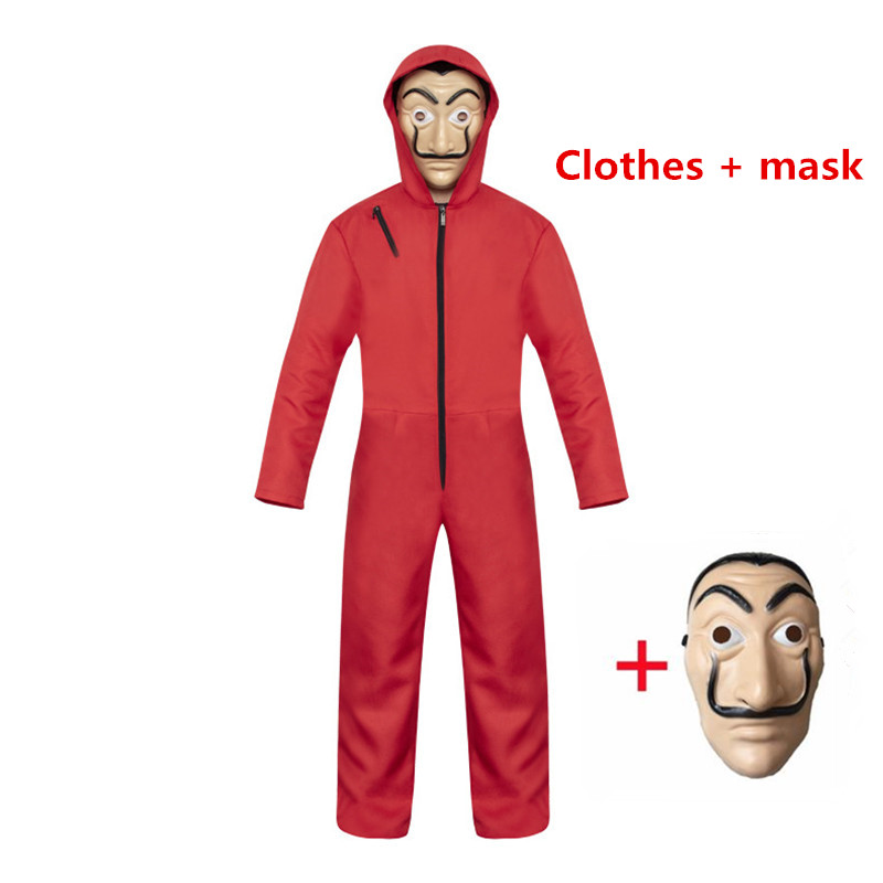 New La Casa de Papel Salvador Dali Clothing Money Robbery Paper House Cosplay Halloween Party Costume + Mask