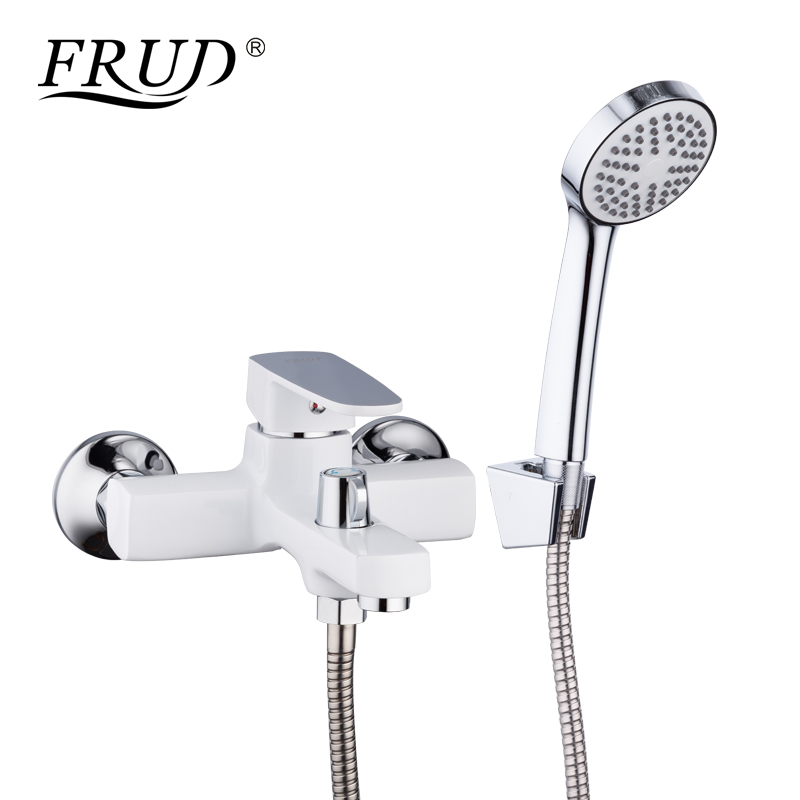 FRUD Hot Sale White Bathroom Waterfall Restroom Bath Shower Faucets Set Wall Mounted Bathtub Rain Shower Faucet Mixer Set R32301
