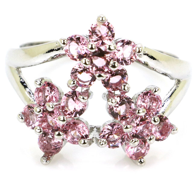 8.0# Ravishing Pink Morganites Flower Shape Gift For Ladies 925 Silver Rings 19x18mm