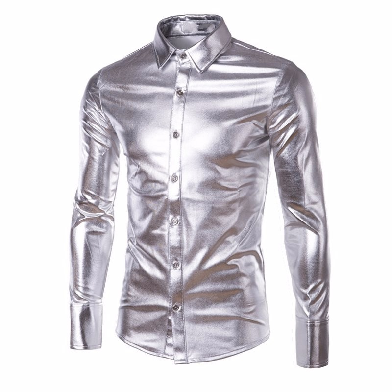 Mens Trend Night Club Coated Metallic Button Down Shirt Party Stage Show Shiny Long Slee ...