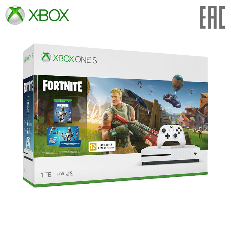Video Game Console Microsoft Xbox One S 234-00713 + Fortnite 800 games home multiplayer arcade game console kit set double joystick children game console for tv monitor support hdmi vga