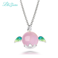 l&zuan Charm Pink Angel 925 Sterling Silver Jewelry Pendant Necklace For Women Fine Jewelry Rose Quartz Egg Wing Necklaces 2704