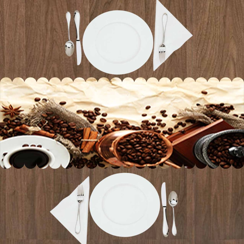 Else Brown Floor Coffee Beans Turkish Pot Authentic 3d Print Pattern Modern Table Runner  For Kitchen Dining Room Tablecloth
