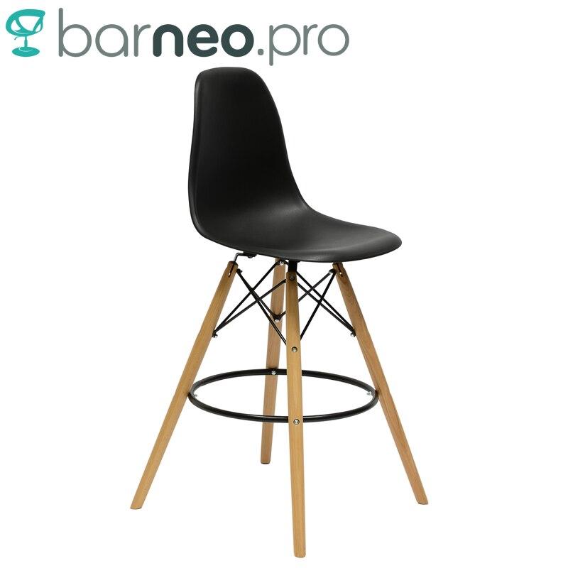 big sale 439cf 65487 US $59.25 |94891 Barneo N 11 Plastic Wood High Kitchen Breakfast Bar Stool  Bar Chair Kitchen Furniture Black free shipping in Russia-in Bar Stools ...
