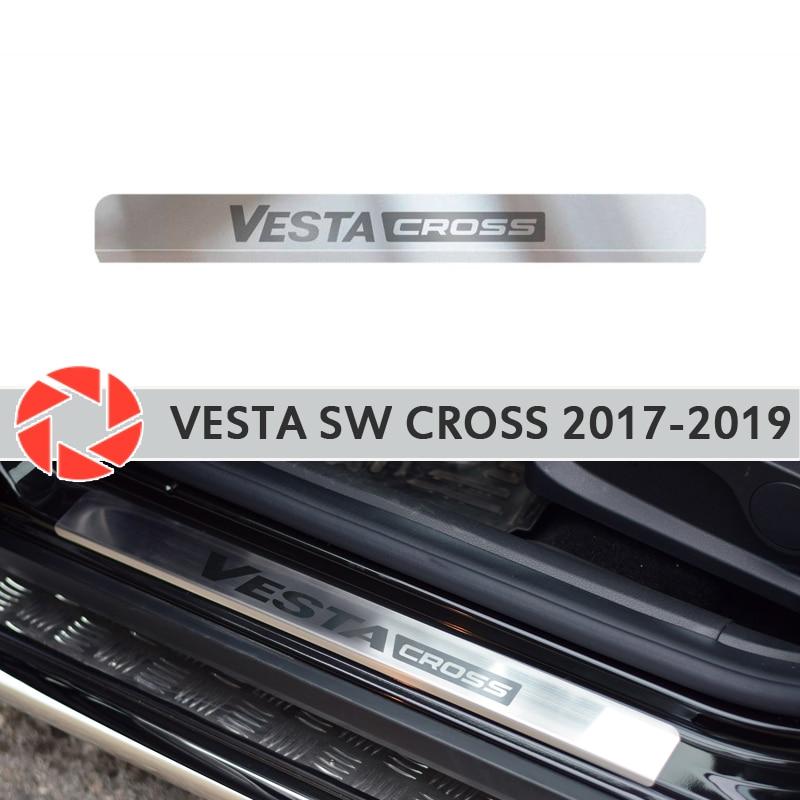 Davanzali di porta per Lada Vesta SW Croce 2017-passo piatto interno trim accessori di protezione dello scuff car styling decorazione laser lettere