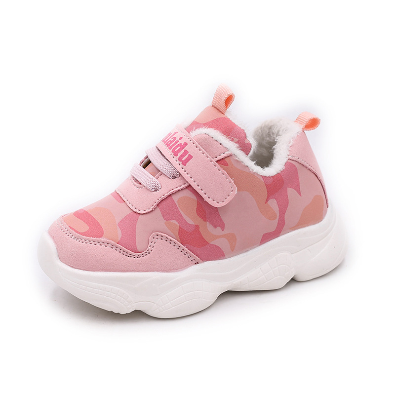 Kids Shoes Winter Warm Boys Girls Fashion Plush Sport Shoes Flat Rubber Non-slip Baby Kids Shoes Quality Leather New Hot