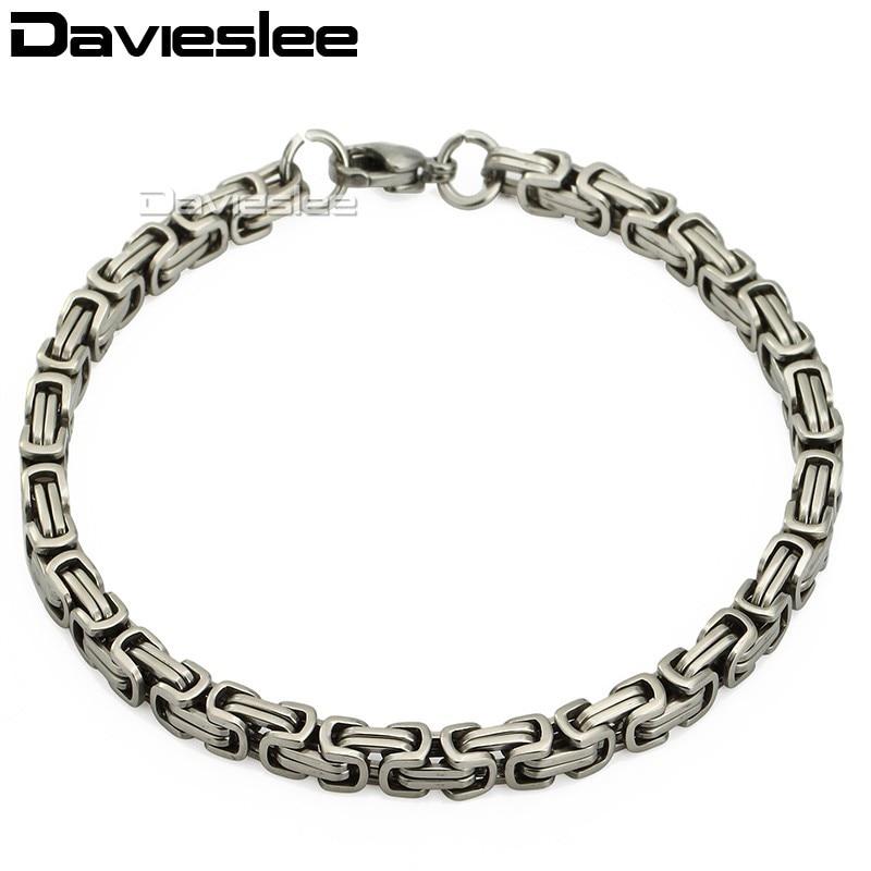 5mm Blace Tone Byzantine Stainless Steel Bracelet Mens Boys Chain Bracelet Promotion Bulk Sale Personalized Jewelry LKBM09