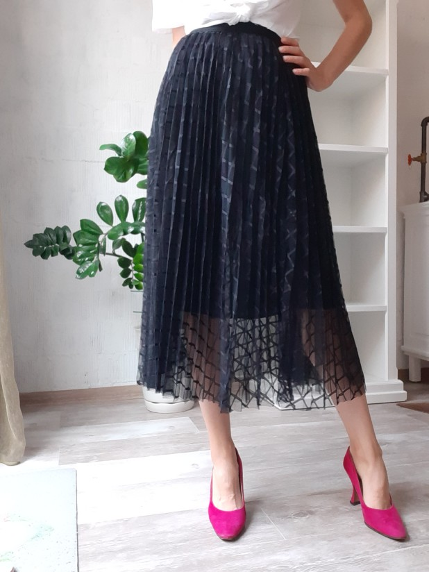 Spring Summer Midi Women Skirt High Waist A Line Geometric Kawaii Tulle Skirt Cute Long Pleated Skirt Female photo review