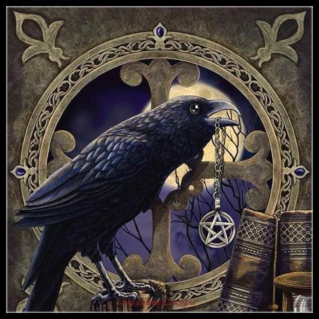 Вышивка счетная Вышивка крестом наборы рукоделие-ремесла 14 ct DMC цвет DIY Искусство ручной работы Декор-талисман ворона пентаграмма 2