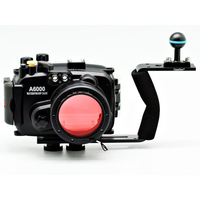 For Sony A6000 (16 50mm) 40m 130ft Meikon Underwater Camera Housing + diving handle + 67mm Red diving filter