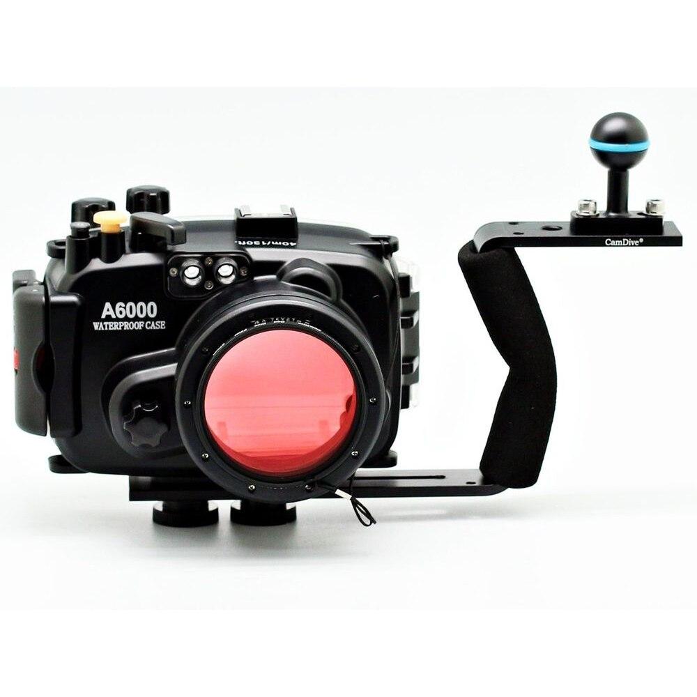 Pour Sony A6000 (16-50mm) 40 m 130ft Meikon boîtier de caméra sous-marine + poignée de plongée + 67mm filtre de plongée rouge