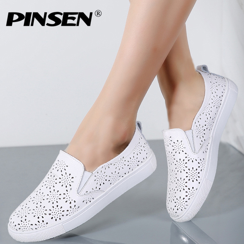PINSEN  Brand High Quality Women Genuine Leather Shoes Slip On Flats Handmade Shoes Loafers mocassin flat Women's shoes Slipony hot sale mens italian style flat shoes genuine leather handmade men casual flats top quality oxford shoes men leather shoes