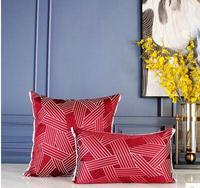 45x45M 100% cotton red geometric striped pattern sofa cushion covers decorative pillow cover sofa pillowcase house decoration