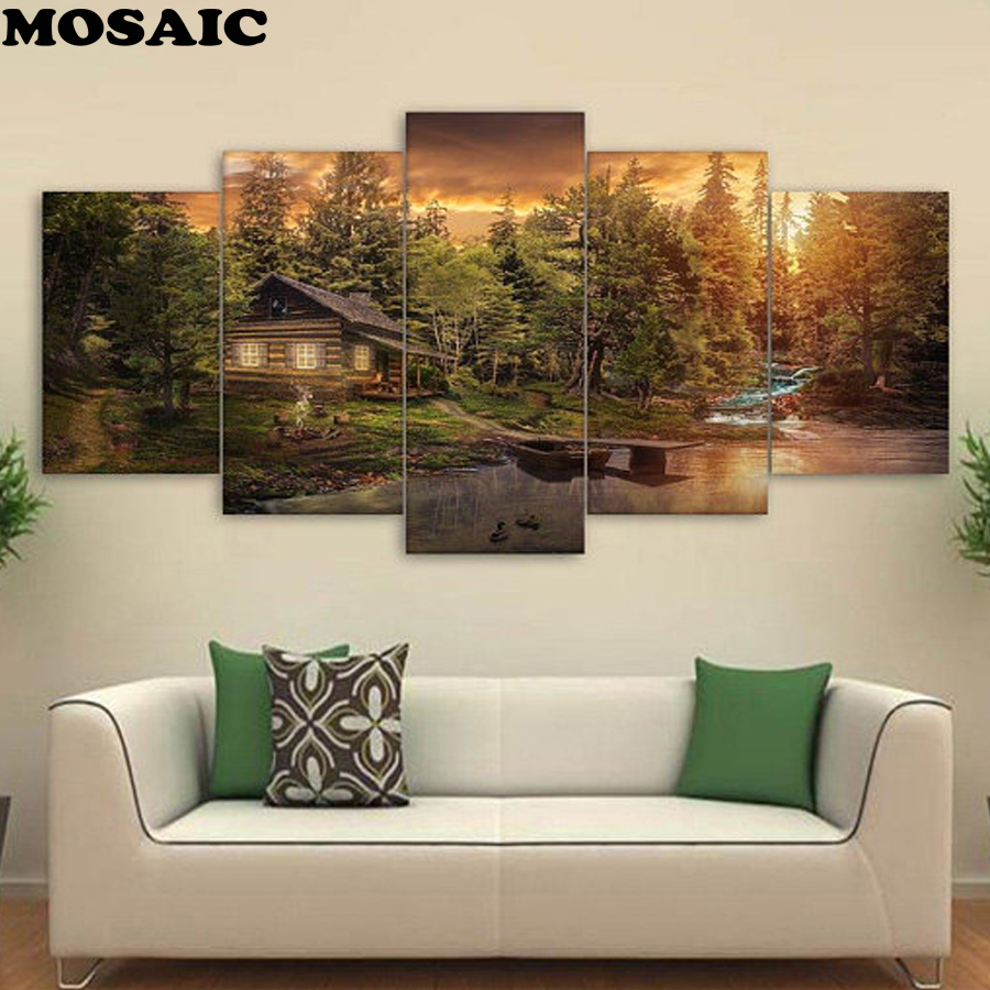 5diy diamond painting mosaic Embroidery Cabin in the Woods Wall Decor Kitchen Decoration Print diamond lake