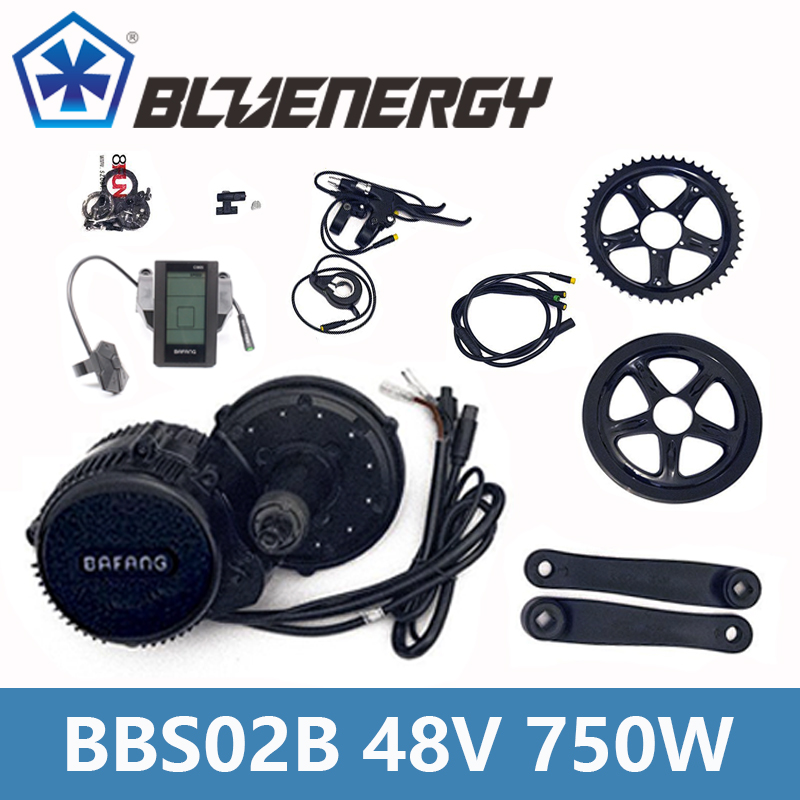 BBS02B 48V 750W 8fun Bafang Mid Drive Motor Kit With Gear Sensor 6V Light Cable Ebike bicycle Conversion Kit Full Color Display free shipping authentic bafang 36v 350w electric bicycle bbs01 mid crank drive motor kit ebike c965 color 850c lcd conhismotor