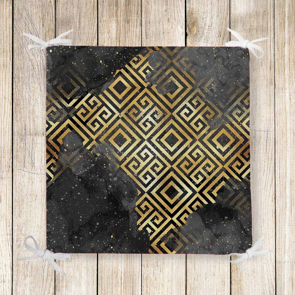 Else Black Gray Clouds Golden Yellow Locked 3d Chair Pad Seat Cushion Soft Memory Foam Full Lenght Ties Non Slip Washable Zipper