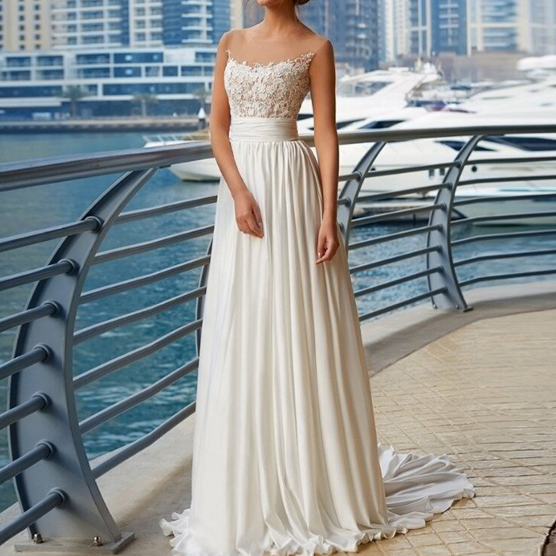 MIAODUO 2019 Beach Wedding Dress Appliques Chiffon A-Line Bride Dresses Pleats Custom Bridal Made Bridal Gowns vestidos de novia