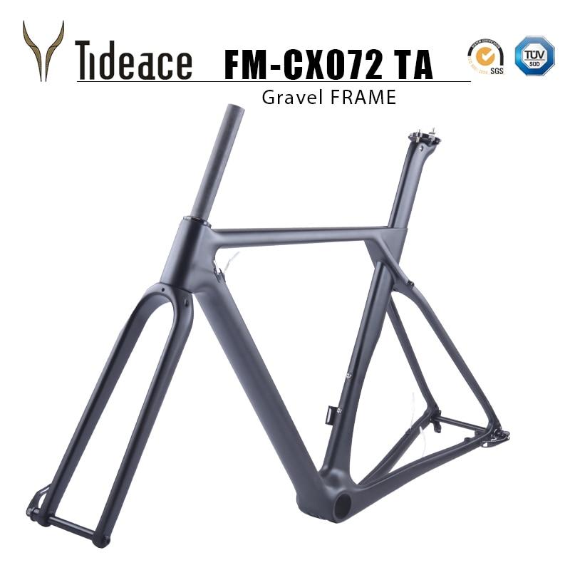 2019 Cascalho Plana de montagem de Carbono Quadro de Bicicleta 49/52/54/56/59 centímetros De Carbono Quadro de Bicicleta cascalho Bicicleta Quadro Cyclocross freio a disco 140 milímetros