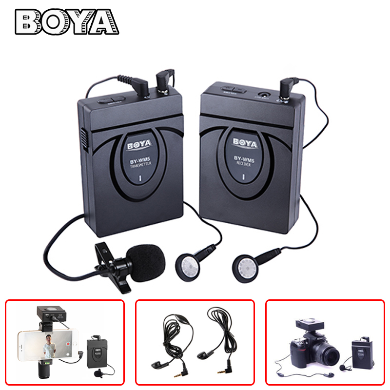 BOYA BY-WM5 Camera Wireless Lavalier Lapel Microphone System for Canon Nikon Sony DSLR Camera Camcorders with Earphone Speaker boya by wm5 lavalier clip on mic audio studio recorder wireless microphone microfone for canon sony gopro dslr camera camcorder