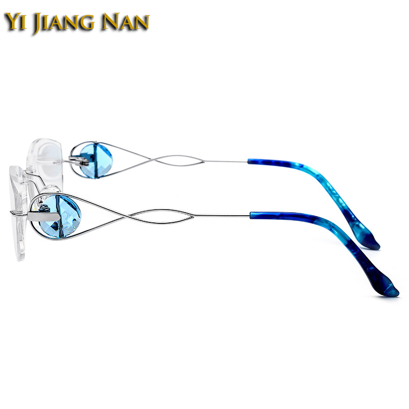 Yi Jiang Nan Brand Diamond Cut Trimmed Rimless Titanium Eyeglasses Frames Women Fashion Silver Glasses with Transparent Lenses in Women 39 s Prescription Glasses from Apparel Accessories