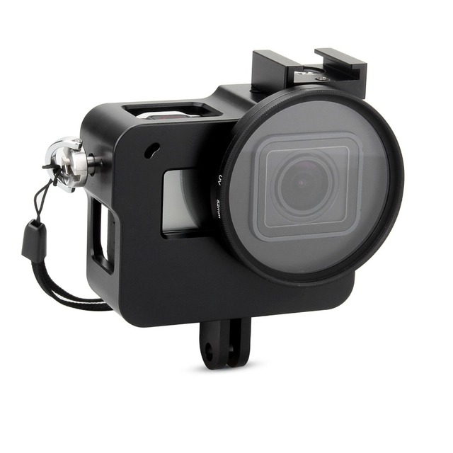 EACHSHOT Aluminium Alloy Skeleton Thick Solid Protective Case Shell with 52mm Uv Filter for Gopro Hero 7 6 5 Camera