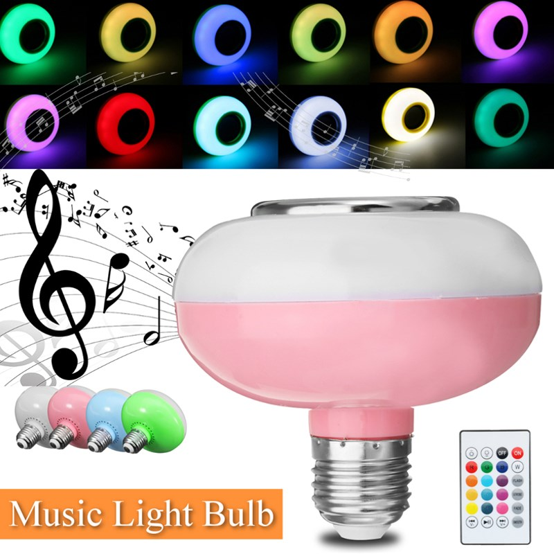 Smuxi E27 Smart RGB Wireless Bluetooth Speaker Bulb Music Playing Dimmable LED Bulb Light Lamp with 24 Keys Remote Control portable professional 2 4g wireless voice amplifier megaphone booster amplifier speaker wireless microphone fm radio mp3 playing
