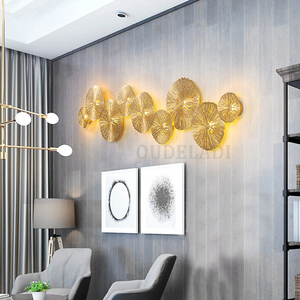 Image 3 - Modern LED Wall Sconce Light Copper hollow lotus leaf wall lamps Bedroom Kitchen Stair Home Fixtures Industrial Decor Luminaire