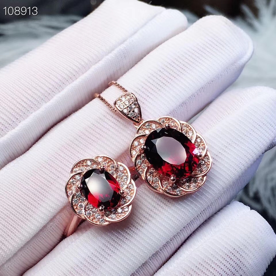KJJEAXCMY boutique jewels 925 sterling silver inlaid Natural Garnet Pendant Ring Necklace suit support detectionKJJEAXCMY boutique jewels 925 sterling silver inlaid Natural Garnet Pendant Ring Necklace suit support detection