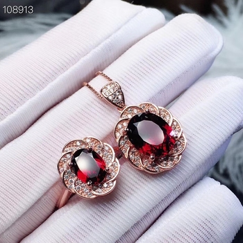 KJJEAXCMY boutique jewels 925 sterling silver inlaid Natural Garnet Pendant Ring Necklace suit support detection
