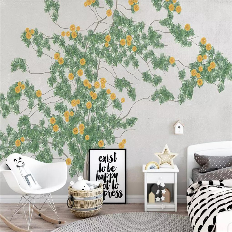 Literary leaves flowers background wall professional production murals wholesale wallpaper mural poster photo wall in Fabric Textile Wallcoverings from Home Improvement