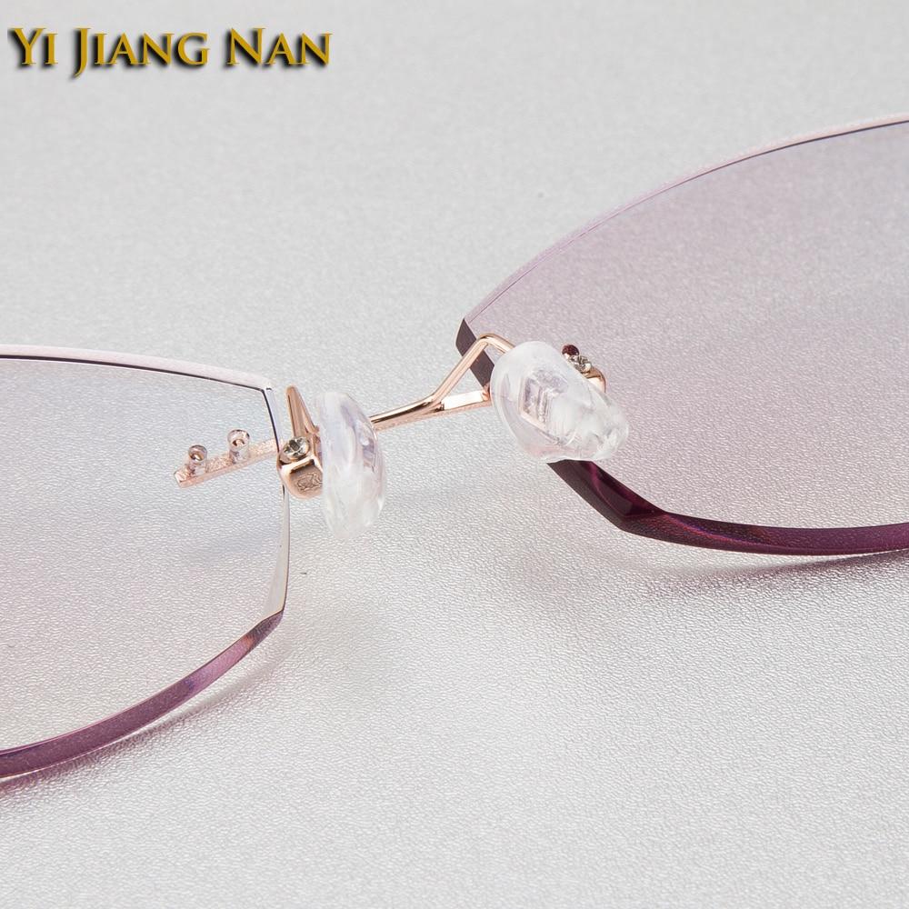 Rezept Rahmen Gold Farbton Brille Steine Red Farbe Frauen With Linsen gold Mit Weibliche Randlose Purple Jiang Top Nan Marke Yi Mode Gray Qualität qz78T0