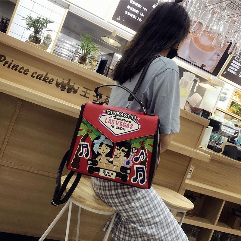 618 Multifunctional Shoulder handbag Embroidery Embossing Designer New Korean college bag PU Fashion brand Messenger bag in Top Handle Bags from Luggage Bags
