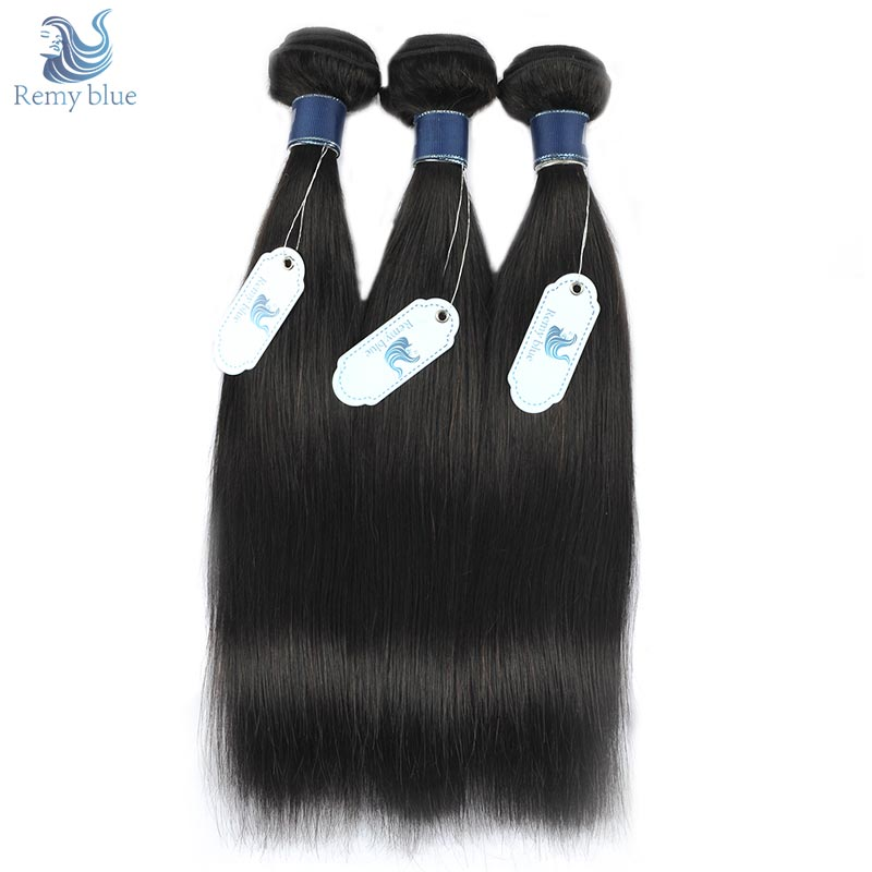 Remy Blue Malaysian Straight Hair 3 Bundles 10-26 Inch Remy Human Hair Weave Extension Natural Color Hair Bundles No Tangle&Shed