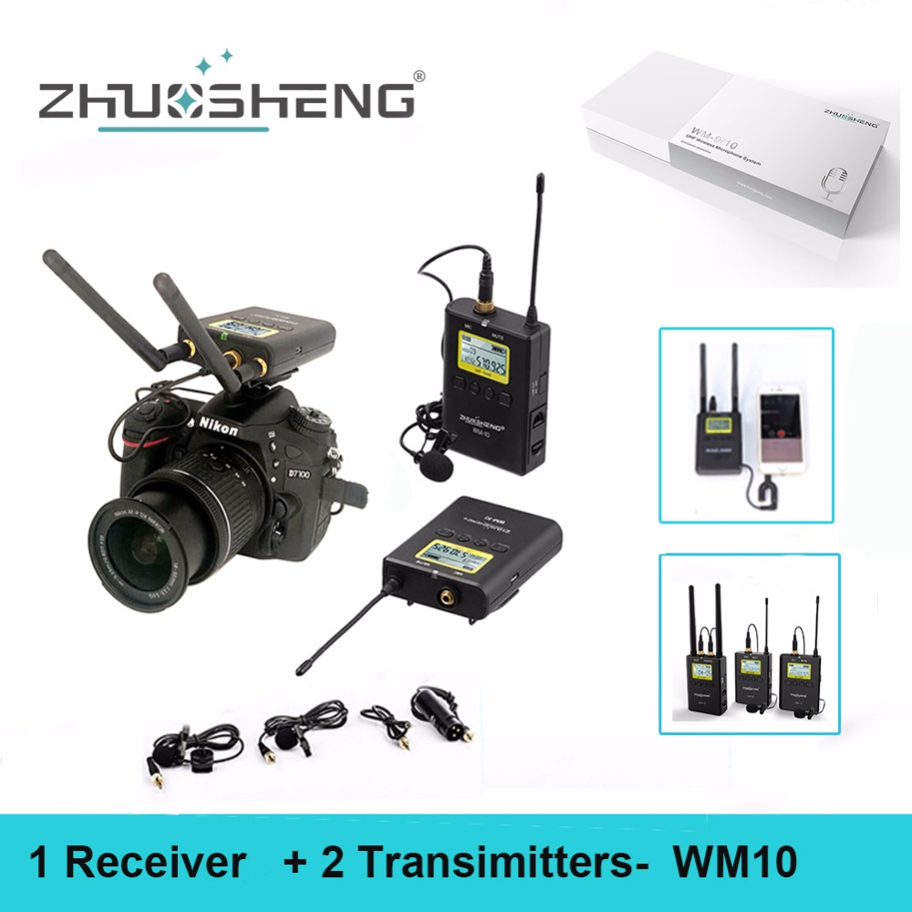 ZhuoSheng WM-10 Wireless Lavalier Microphone Professional System for Interviews ENG/EFP DSLR Video