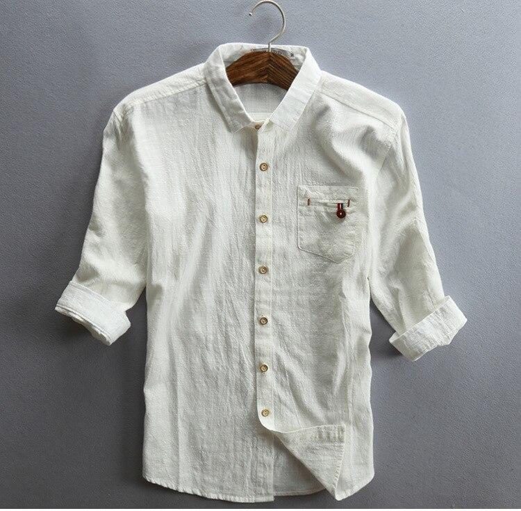 PADEGAO linen cotton mens shirt Three Quarter Sleeves summer tops shirts slim Casual Vintage dress white 5XL