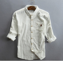 PADEGAO linen cotton mens shirt Three Quarter Sleeves summer tops shirts slim Casual Vintage dress white 5XL
