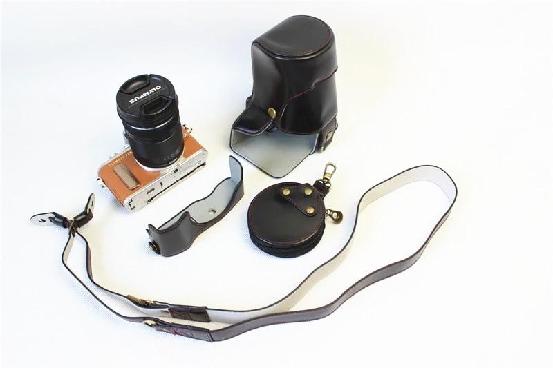 High-grade Retro Vintage PU Leather <font><b>Camera</b></font> Case Bag For <font><b>Olympus</b></font> EPL8 E-PL8 40-150MM With Bottom <font><b>Battery</b></font> Opening