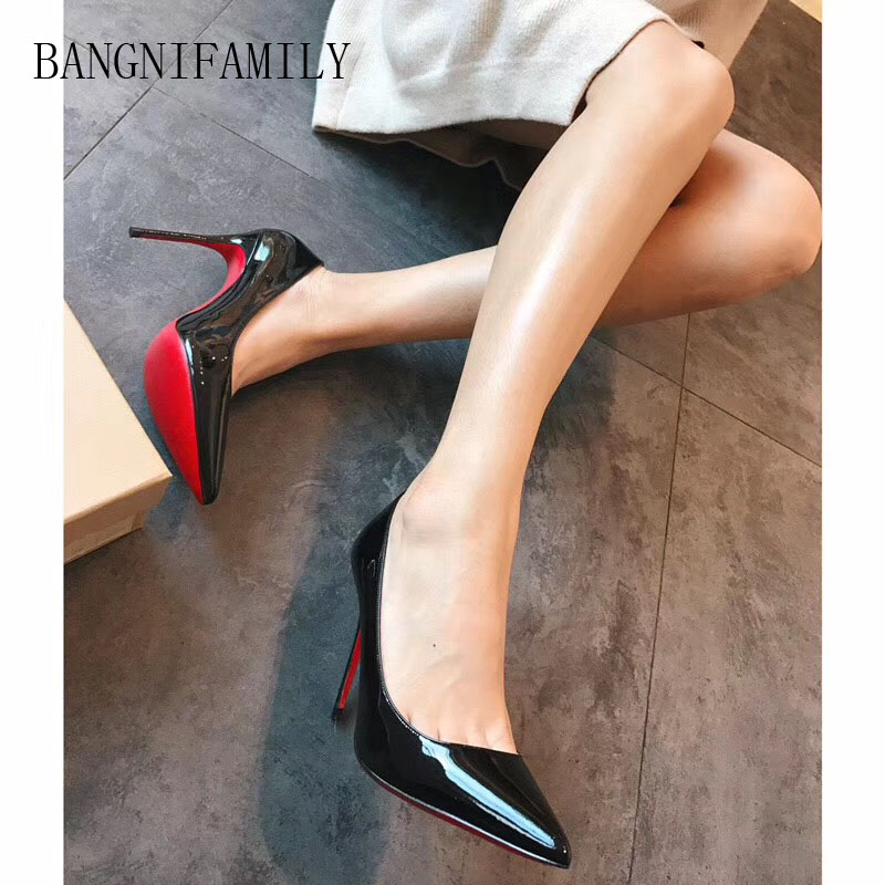 BANGNIFAMILY 2018 New High-heeled Shoes Woman Leather Pumps Wedding Shoes Fashion Sexy Women Shoes Classic Black High Heels the new puma womens shoes classic high classic star high tongue series white leather laser badminton shoes