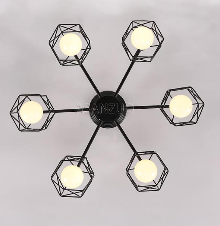 UTB86d78BiDEXKJk43Oqq6Az3XXa4 Modern Black Chandelier Lighting American Iron Cage Ceiling Lamp Light Fixtures Kitchen luminiare Bedroom Living Room Home Light