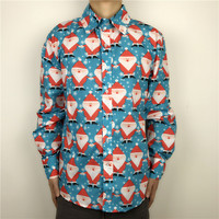Stand Out Long Sleeve Ugly Christmas Shirt For Men Cool Santa Claus Patterned Xmas Party Shirt