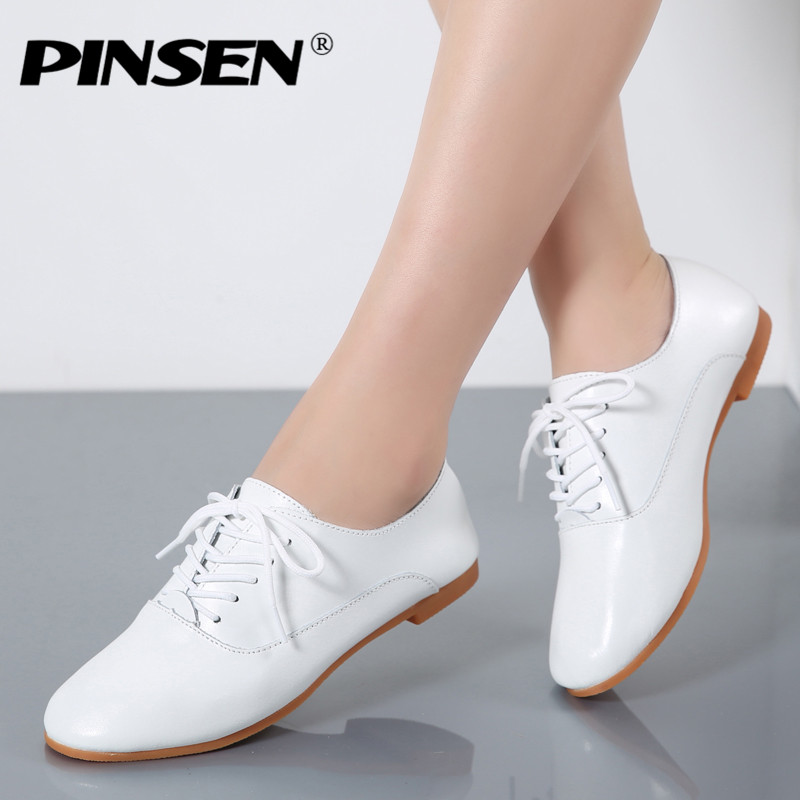PINSEN Autumn Women Oxford Shoes Ballerina Flats Shoes Woman Genuine Leather Shoes Moccasins Lace Up Loafers White Shoes Slipony lovexss genuine leather white flats lace up woman girl student shoes 2017 spring autumn loafers shallow crystal flats