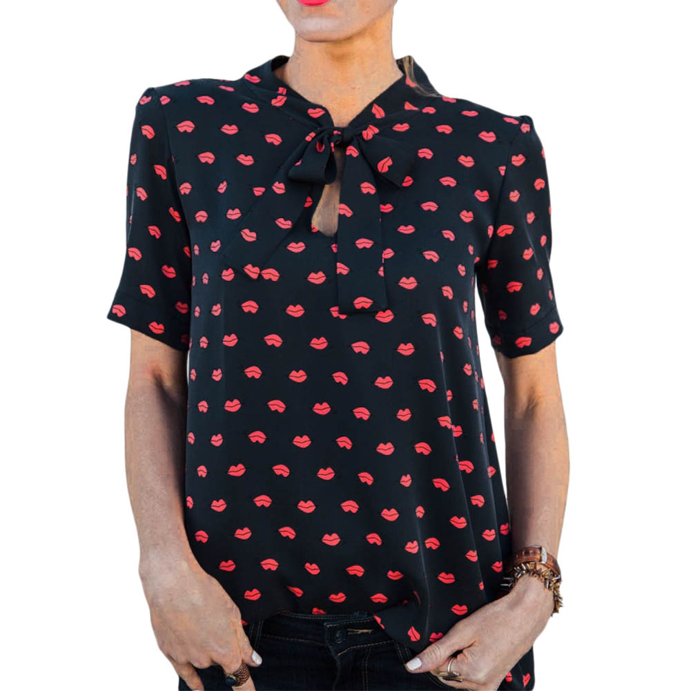cd4ed5701639 2017 Summer Large Size XL Women Chiffon Blouse Shirt V neck Short Sleeve Bow  tie Red lips Print Casual Black White Blouses Tops-in Blouses & Shirts from  ...